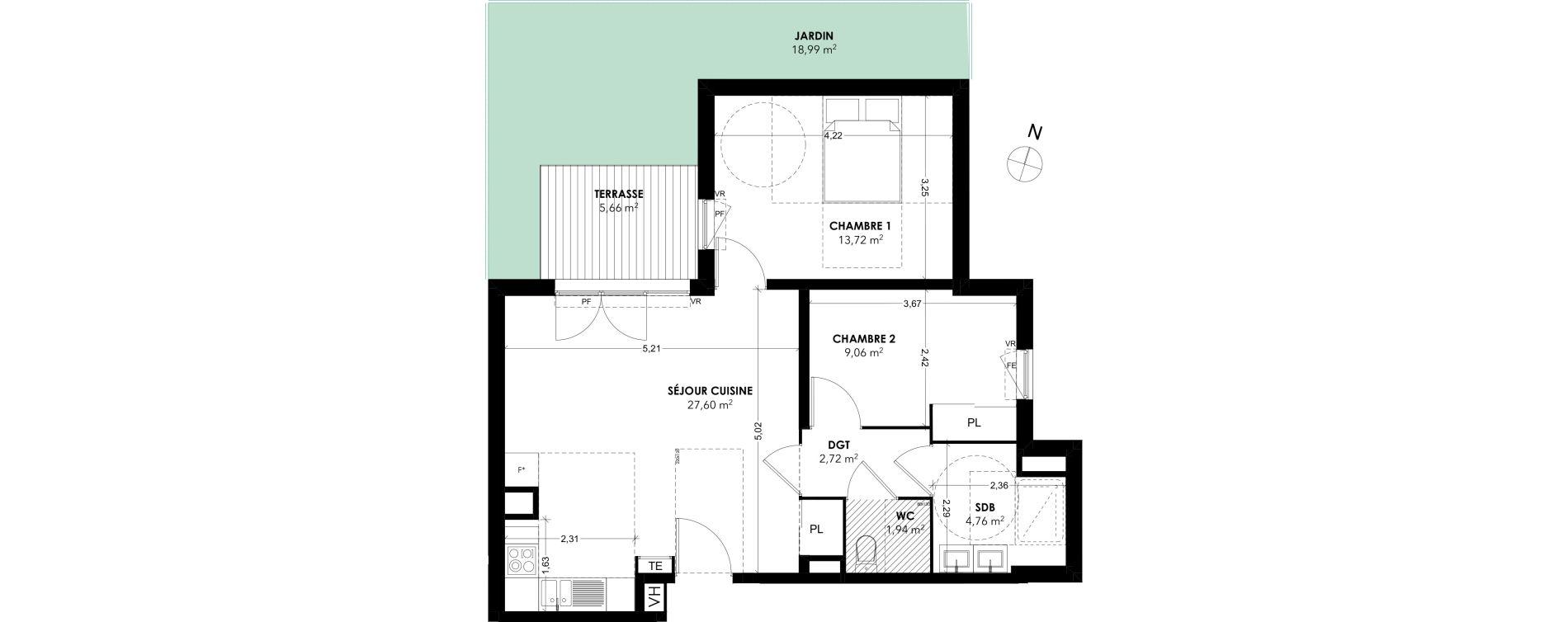 Appartement T3 de 59,80 m2 à Marseille La rose (13eme)
