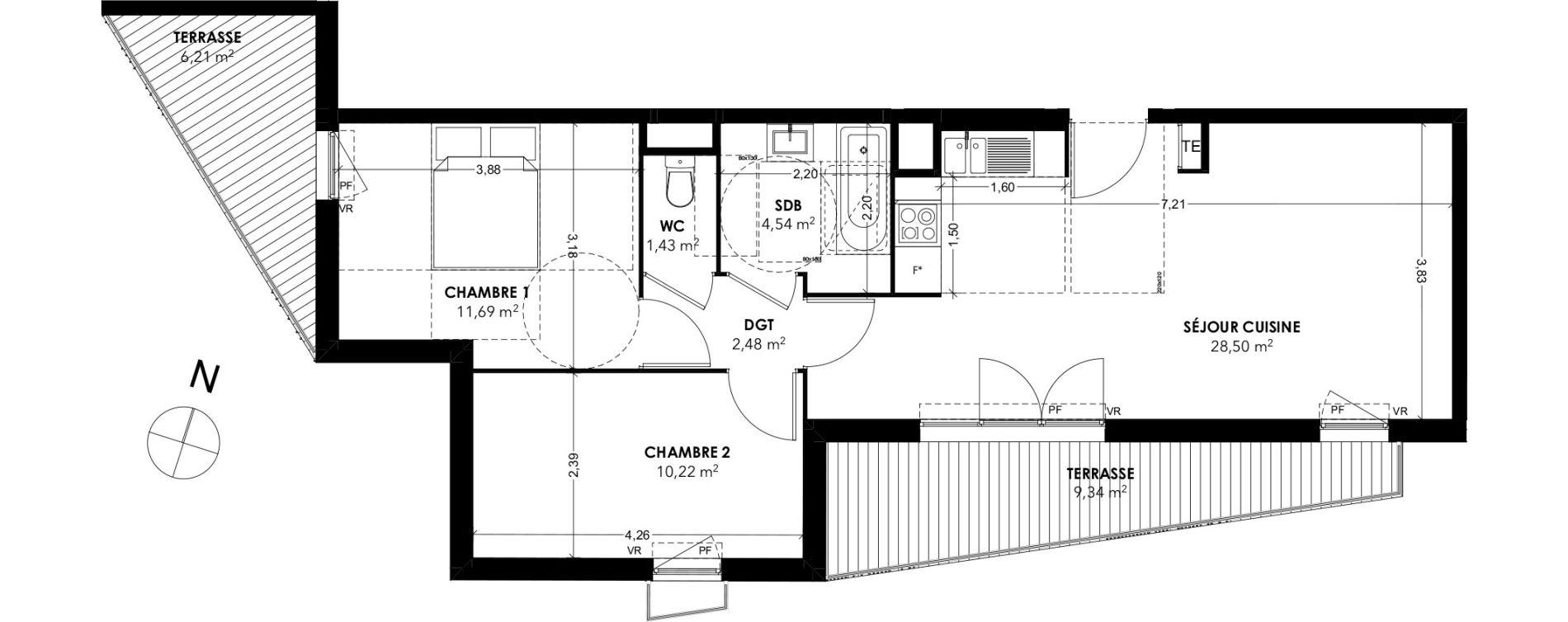 Appartement T3 de 58,86 m2 à Marseille La rose (13eme)