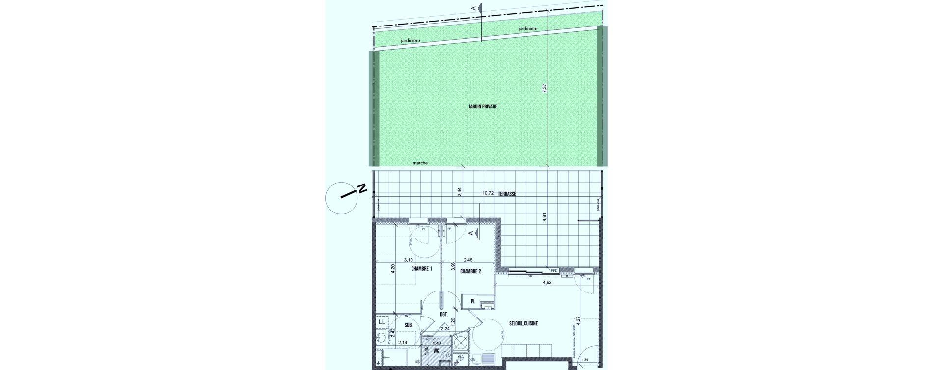 Appartement T3 de 55,75 m2 à Marseille Les caillols (12eme)