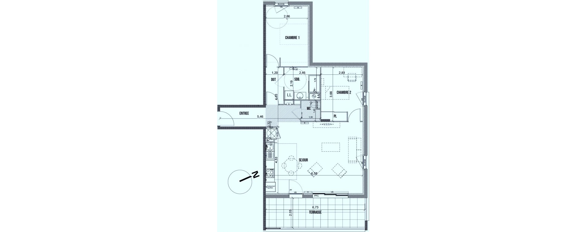 Appartement T3 de 70,45 m2 à Marseille Les caillols (12eme)