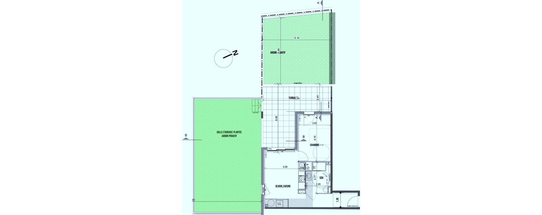 Appartement T2 de 39,85 m2 à Marseille Les caillols (12eme)
