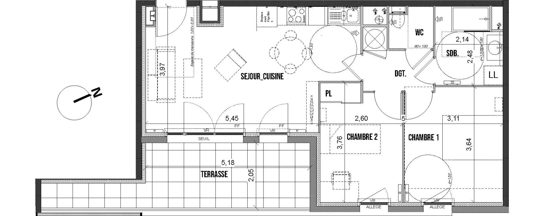 Appartement T3 de 55,05 m2 à Marseille Les caillols (12eme)