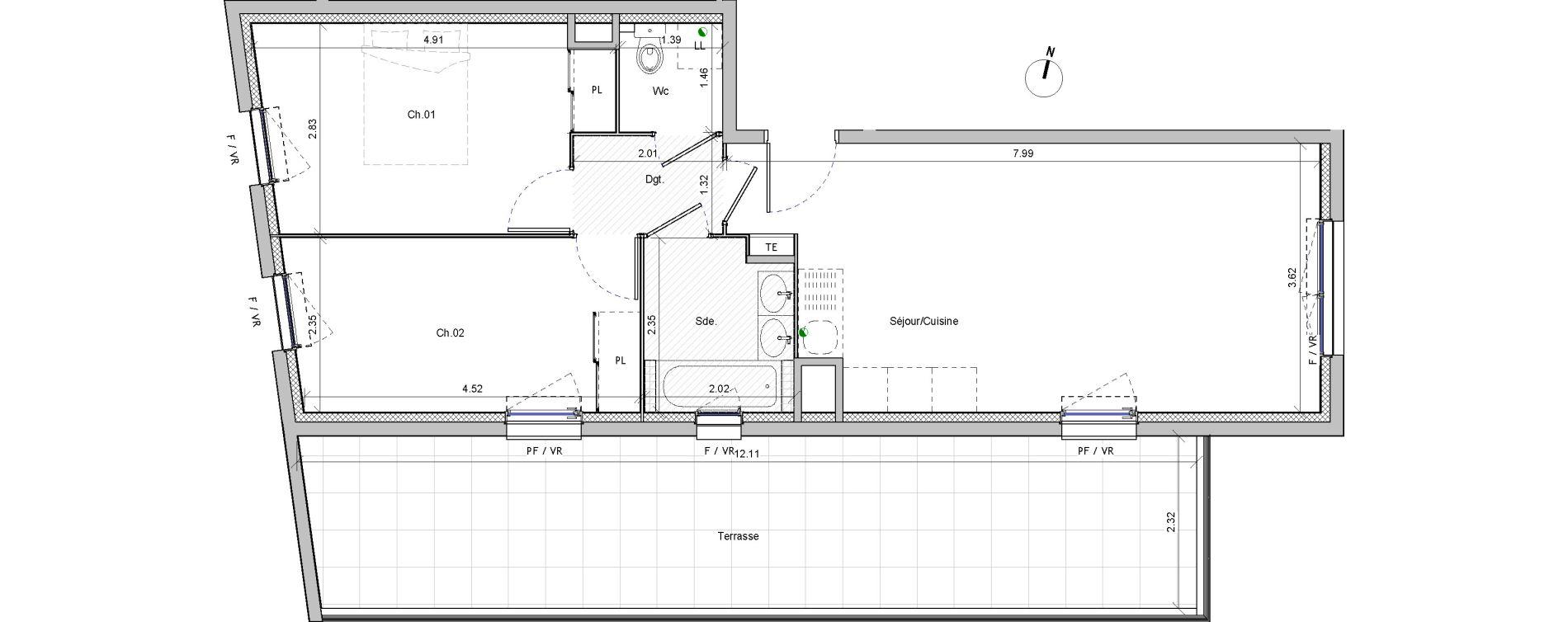 Appartement T3 de 58,65 m2 à Marseille Beaumont (12eme)