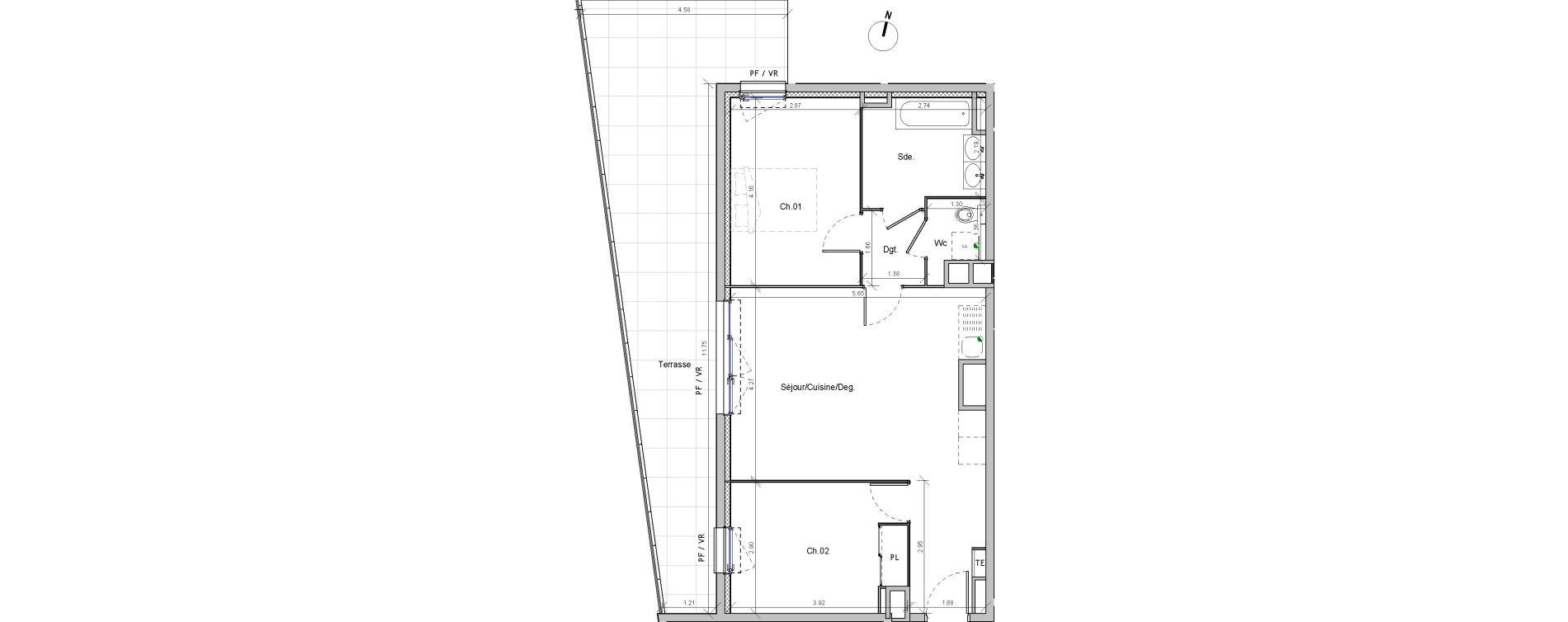 Appartement T3 de 60,95 m2 à Marseille Beaumont (12eme)