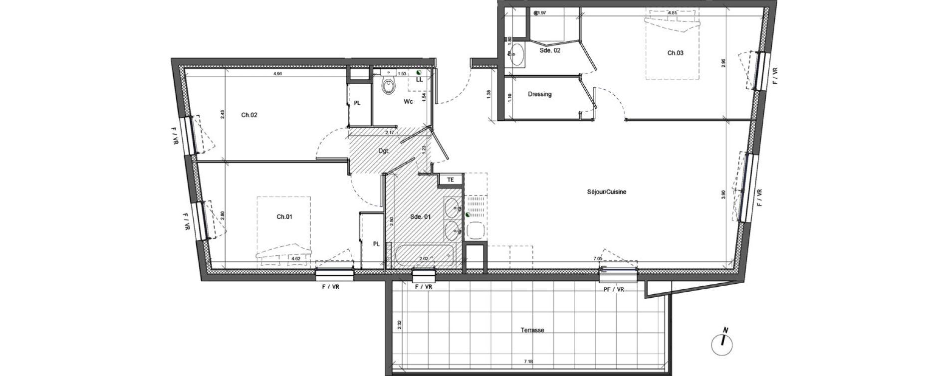 Appartement T4 de 83,54 m2 à Marseille Beaumont (12eme)