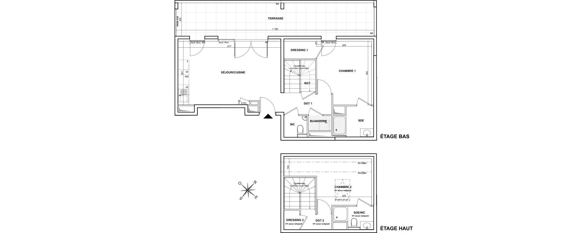 Duplex T3 de 65,47 m2 à Marseille Montredon (8eme)