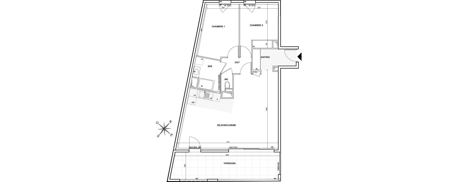 Appartement T3 de 71,79 m2 à Marseille Montredon (8eme)