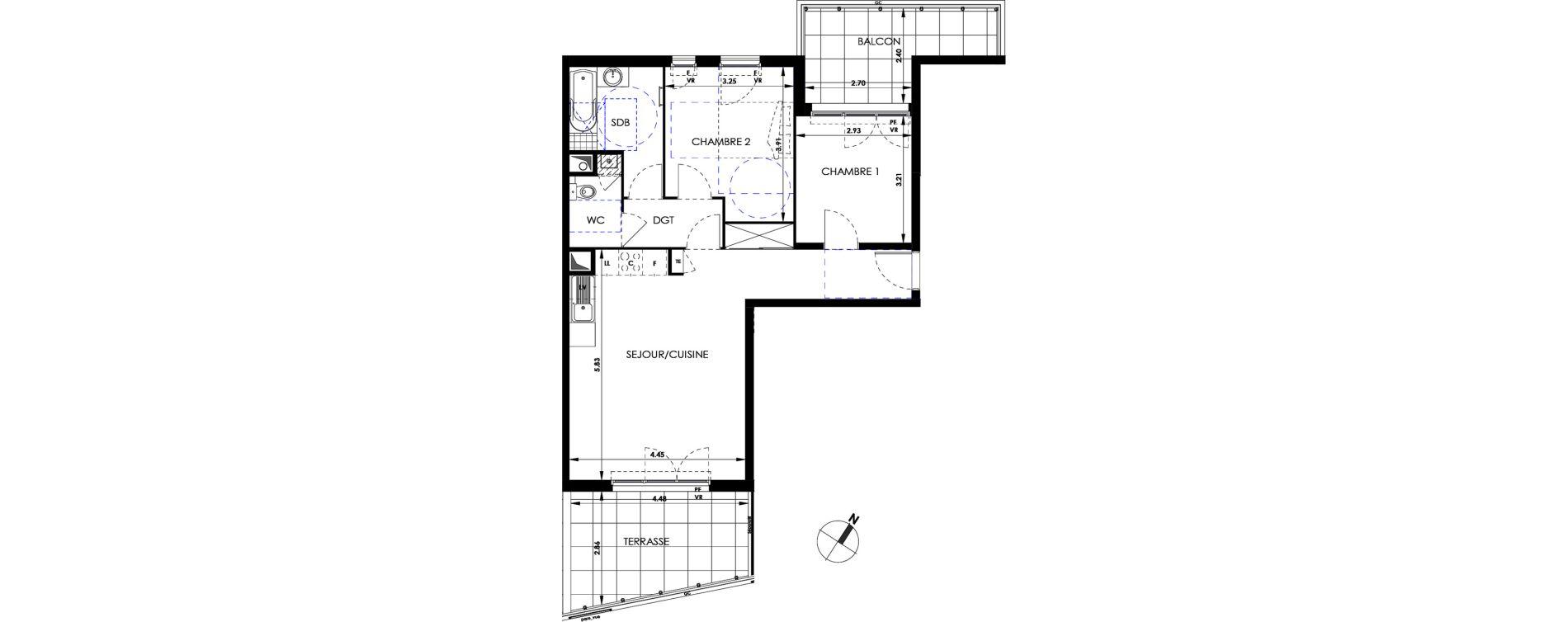 Appartement T3 de 64,84 m2 à Marseille Saint-tronc (10eme)