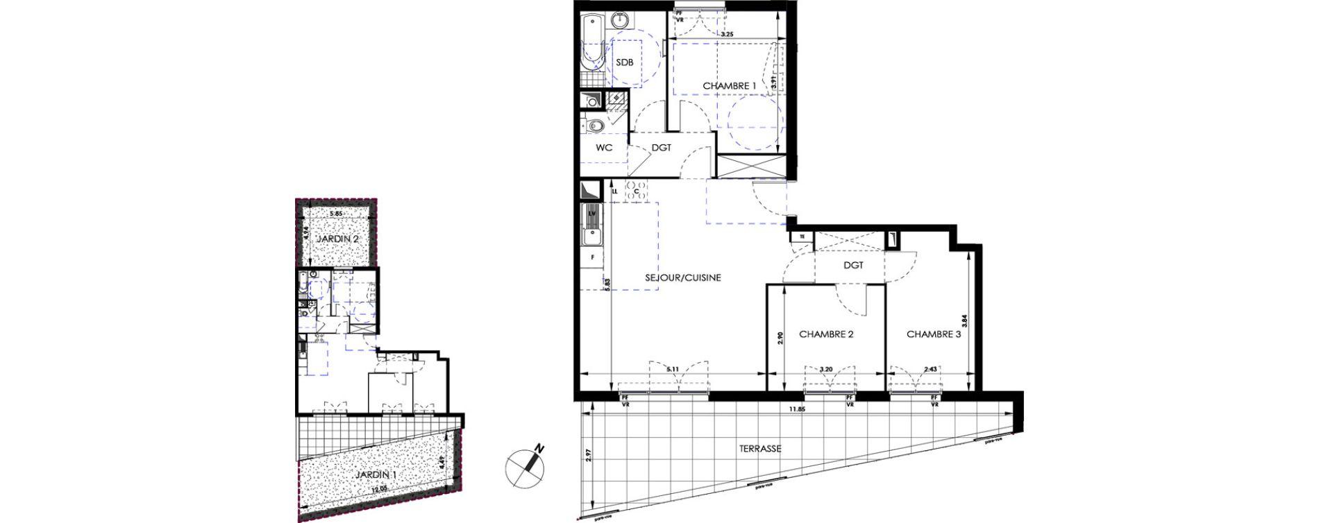 Appartement T4 de 78,48 m2 à Marseille Saint-tronc (10eme)