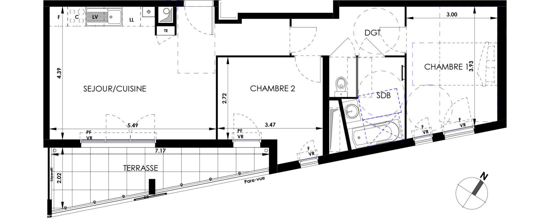 Appartement T3 de 60,47 m2 à Marseille Saint-tronc (10eme)