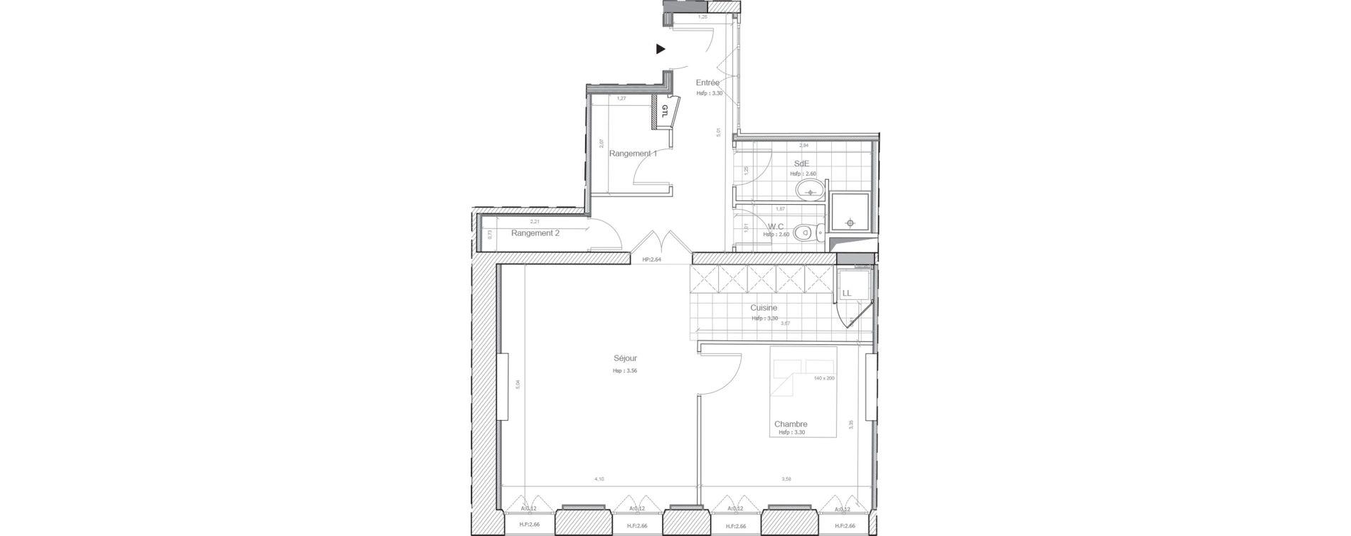 Appartement T2 de 56,15 m2 à Marseille Saint-charles (1er)