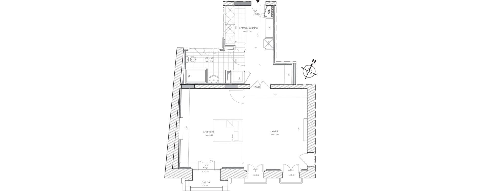 Appartement T2 de 59,28 m2 à Marseille Saint-charles (1er)