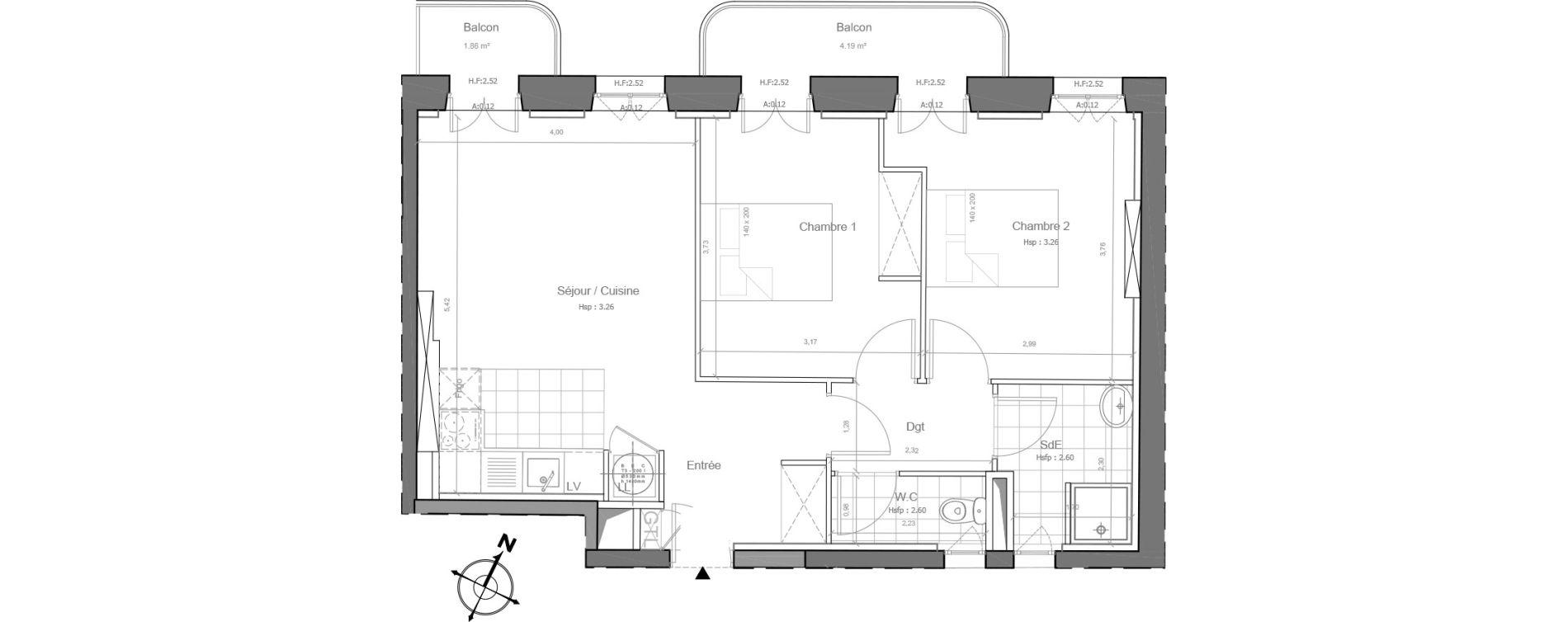 Appartement T3 de 56,37 m2 à Marseille Saint-charles (1er)