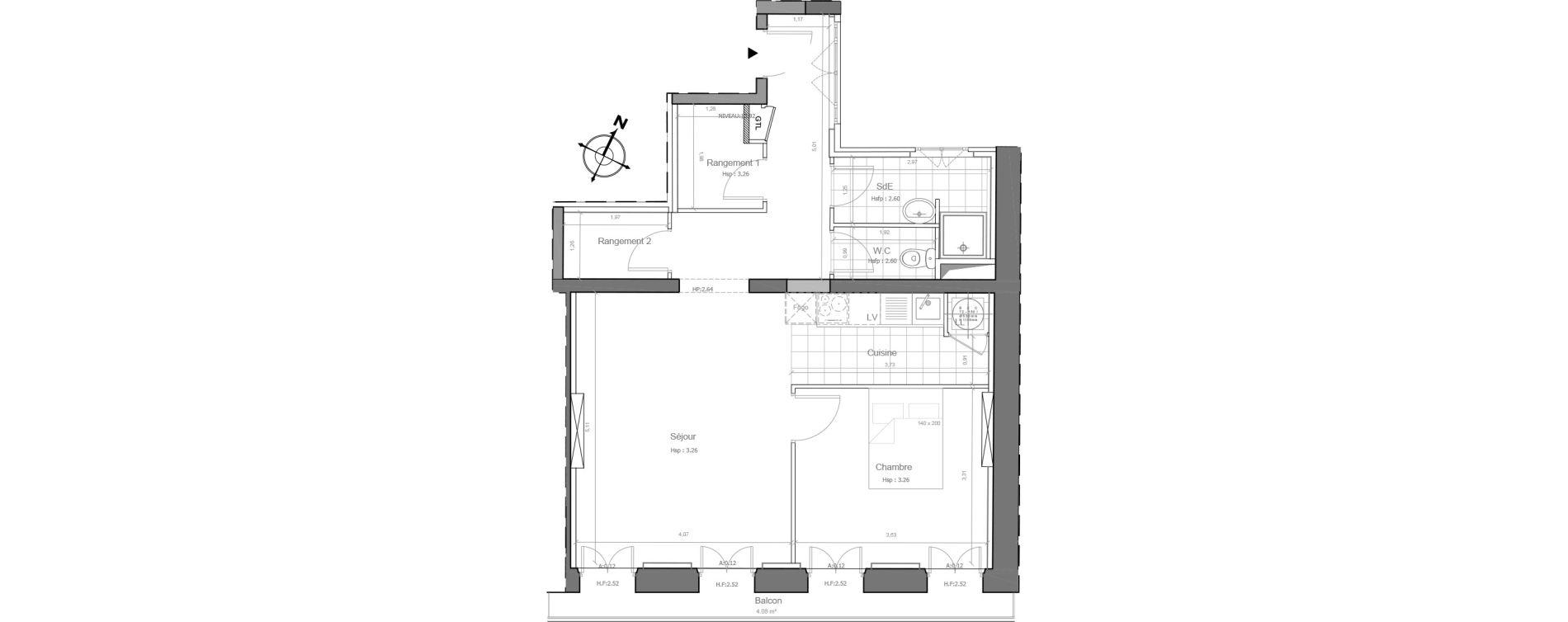 Appartement T2 de 57,13 m2 à Marseille Saint-charles (1er)