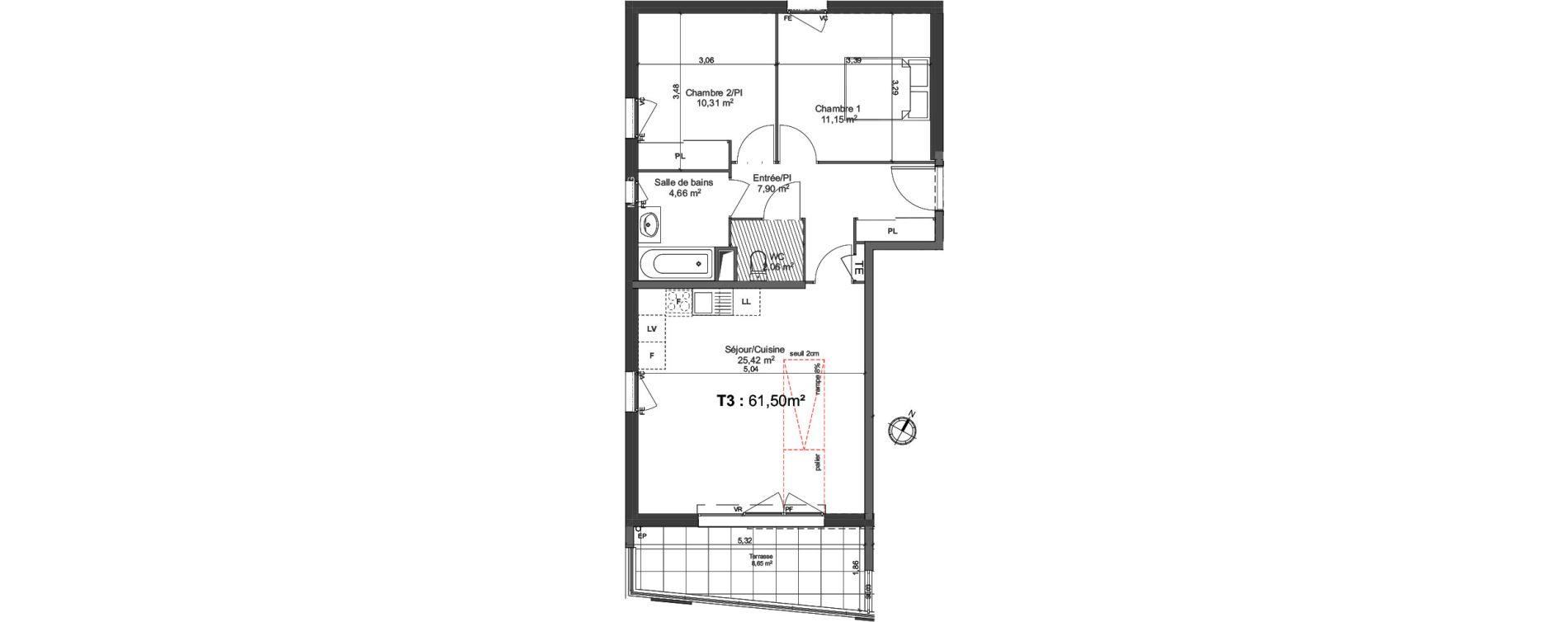 Appartement T3 De 61 50m2 2ème étage S Les Jardins D Alba