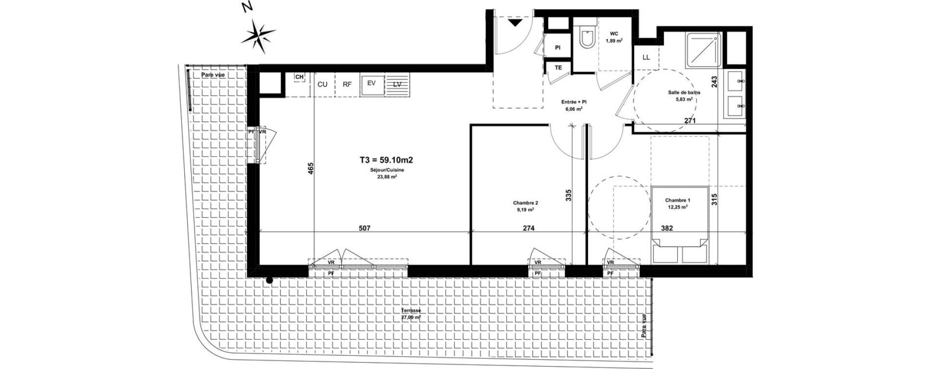 Appartement T3 de 59,10 m2 à Marseille Saint-tronc (10eme)