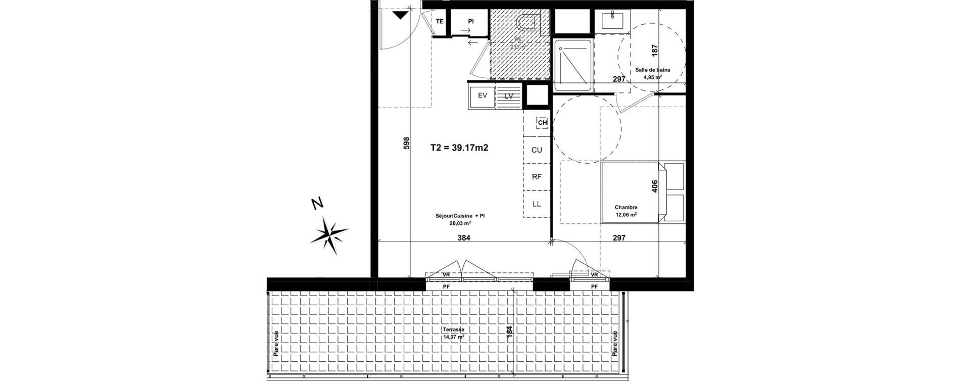 Appartement T2 de 39,17 m2 à Marseille Saint-tronc (10eme)