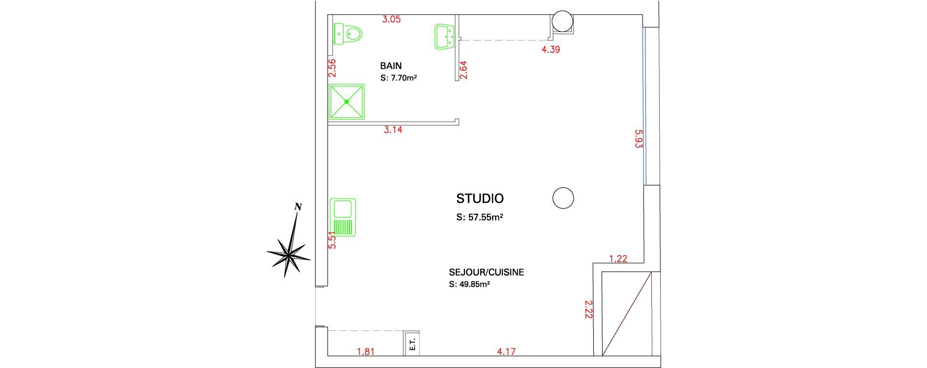 Appartement T1 de 57,55 m2 à Marseille La cabucelle (15eme)