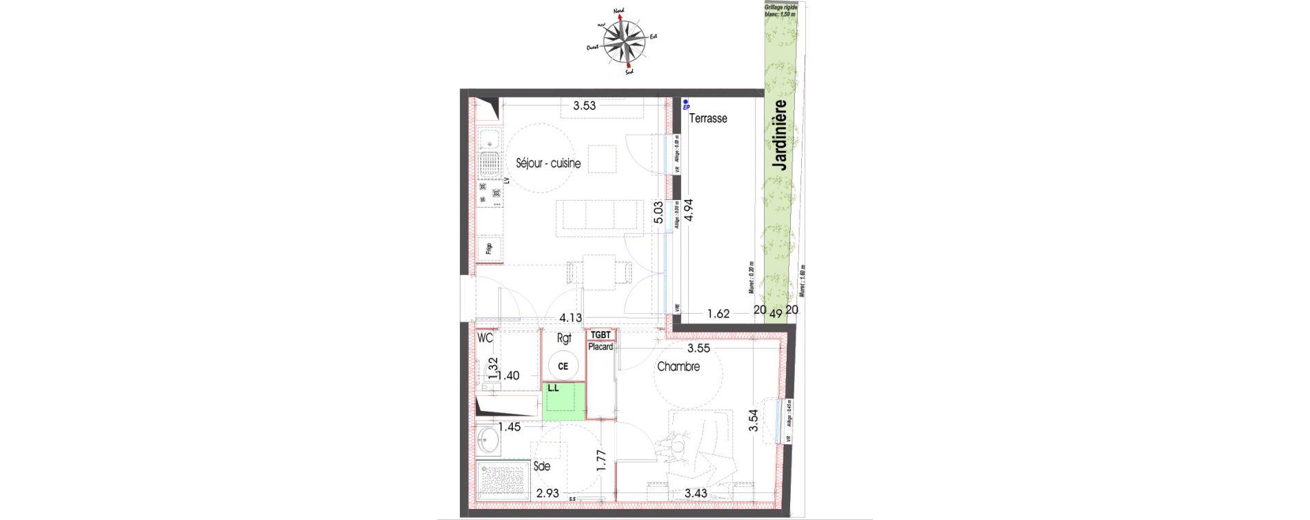 Appartement T2 de 42,96 m2 à Miramas Centre