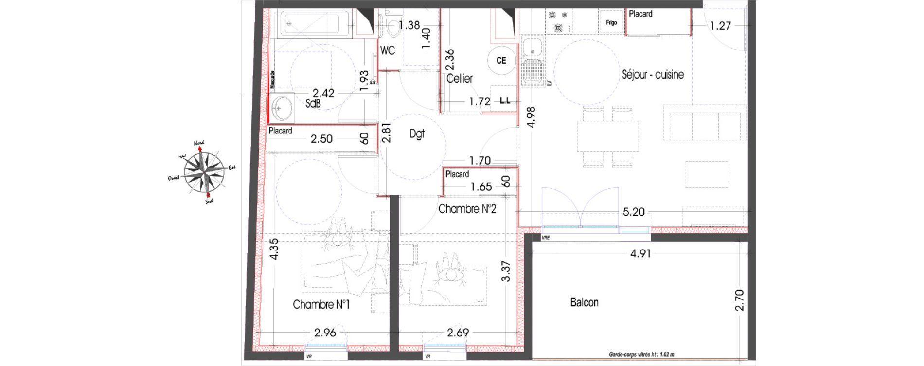 Appartement T3 de 67,15 m2 à Miramas Centre