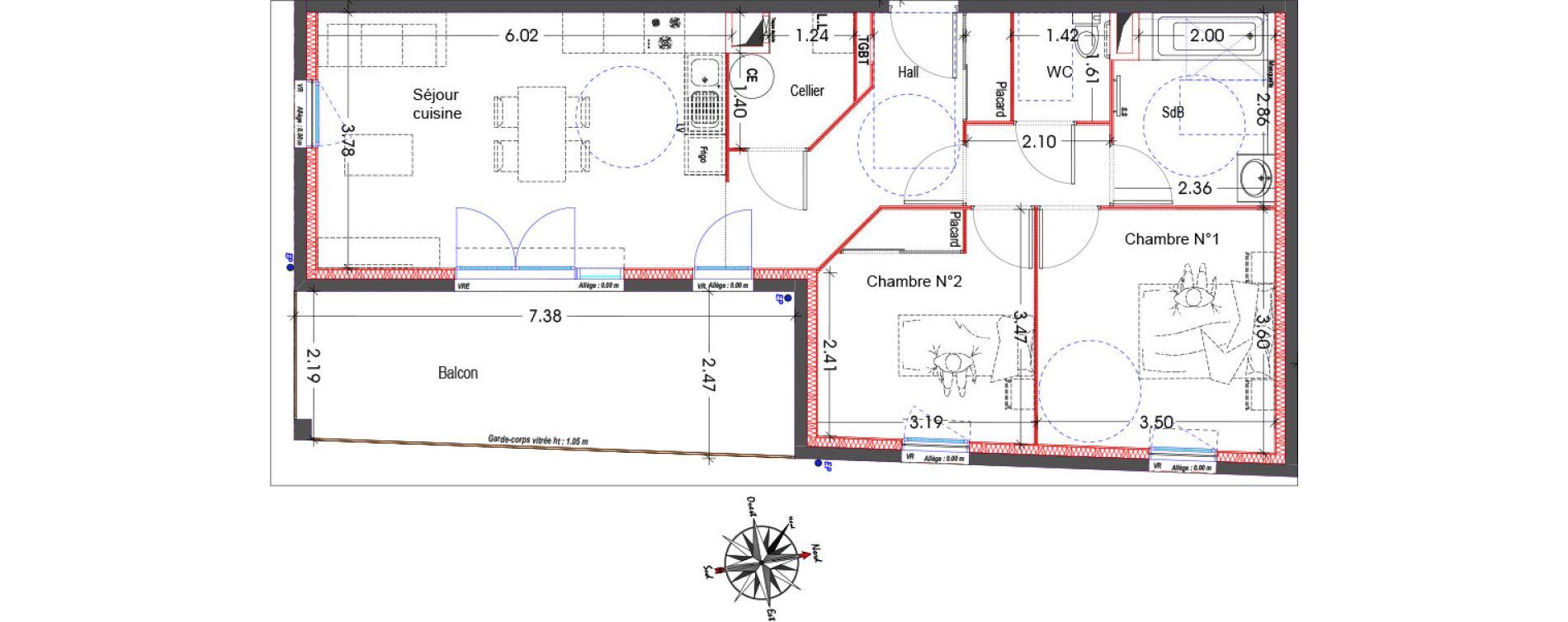 Appartement T3 de 68,57 m2 à Miramas Centre