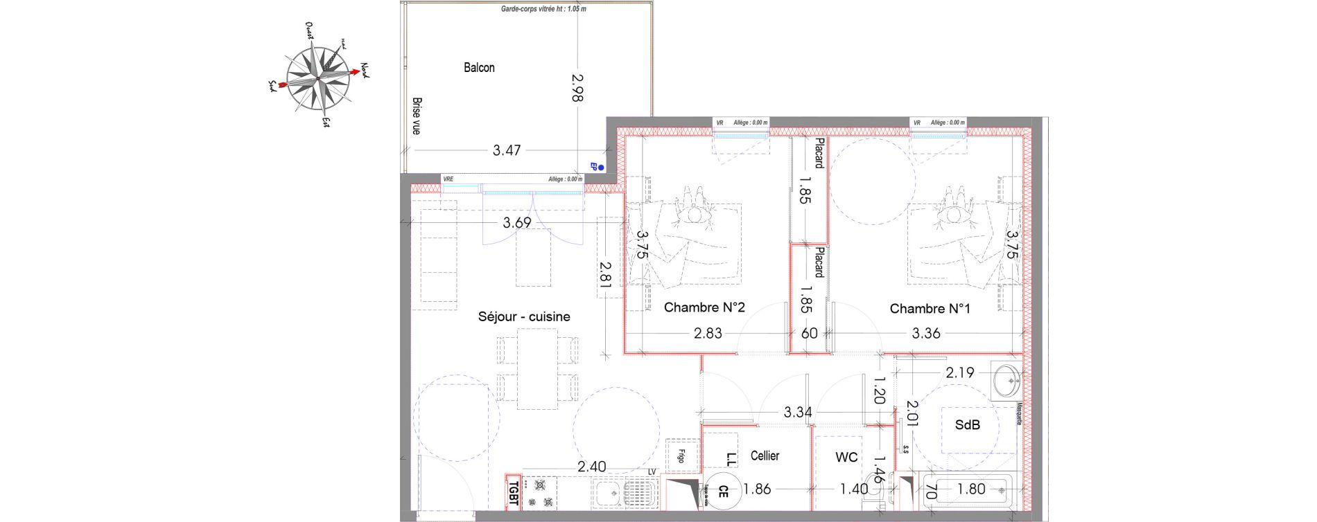Appartement T3 de 63,13 m2 à Miramas Centre