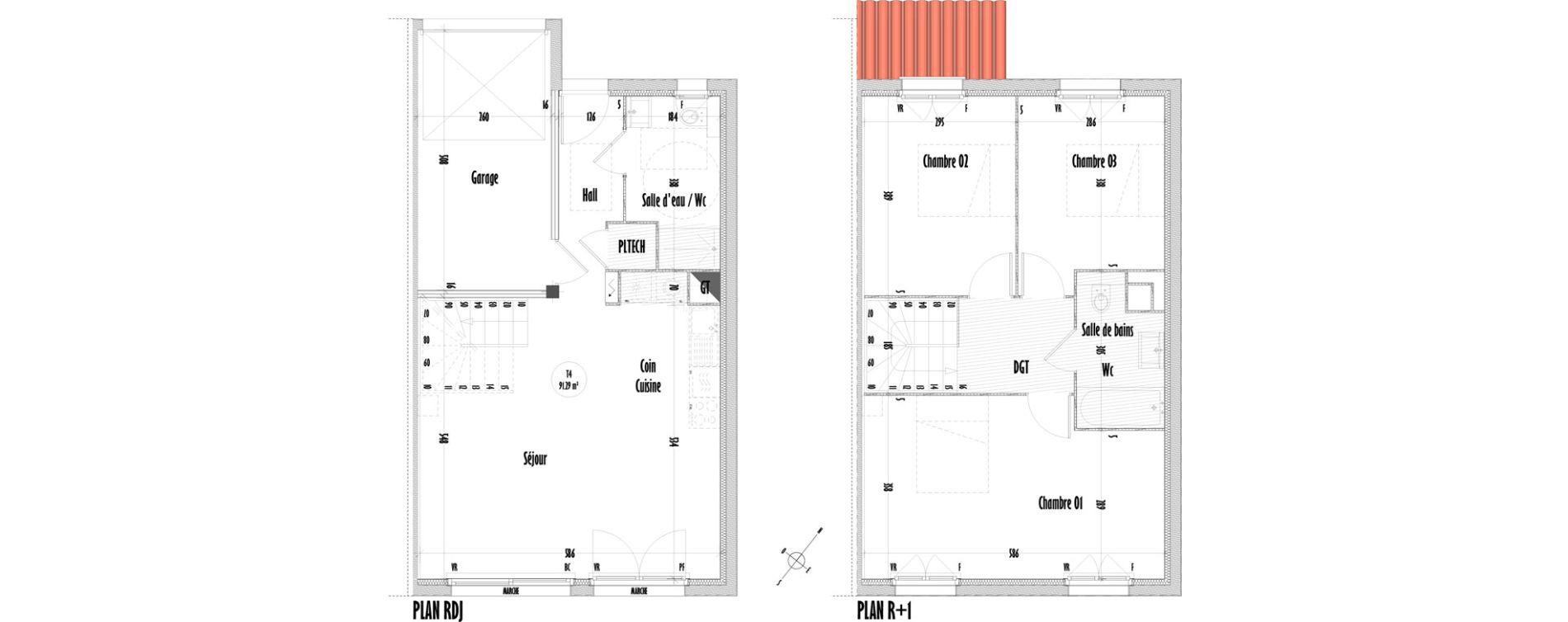 Maison T4 de 91,29 m2 à Saint-Mitre-Les-Remparts Centre