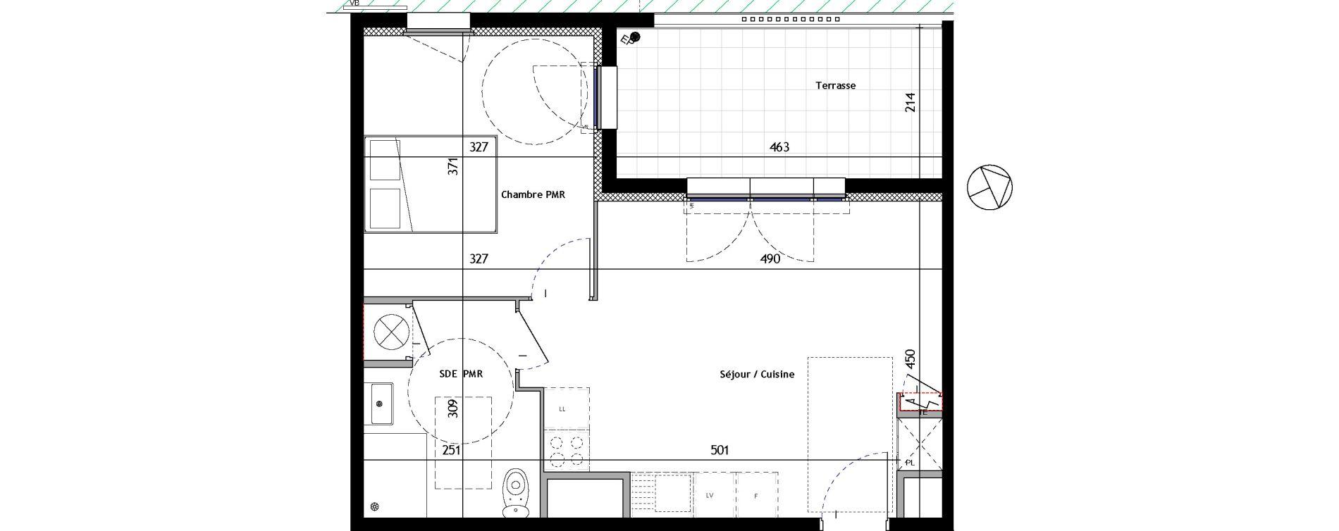 Appartement T2 de 42,35 m2 à Venelles Les michelons