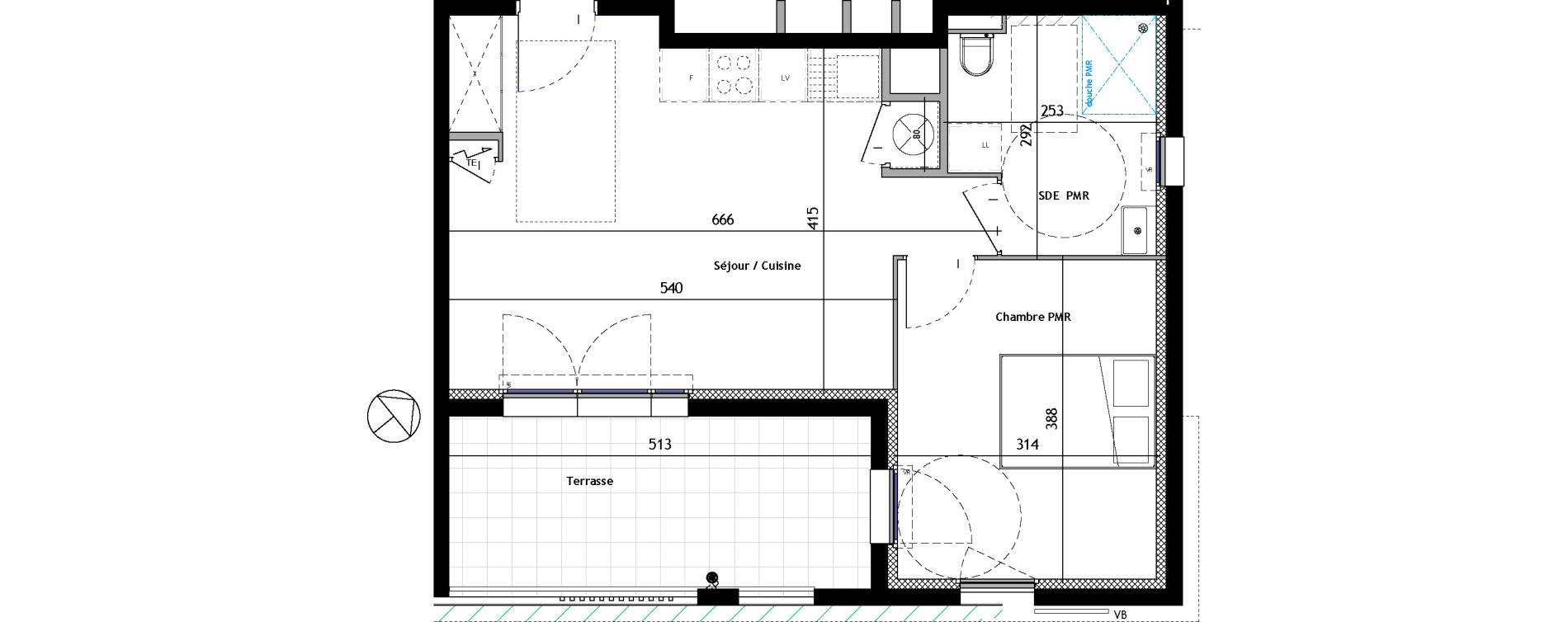 Appartement T2 de 43,52 m2 à Venelles Les michelons