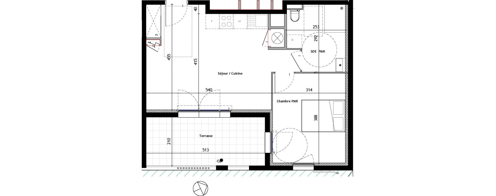 Appartement T2 de 43,30 m2 à Venelles Les michelons