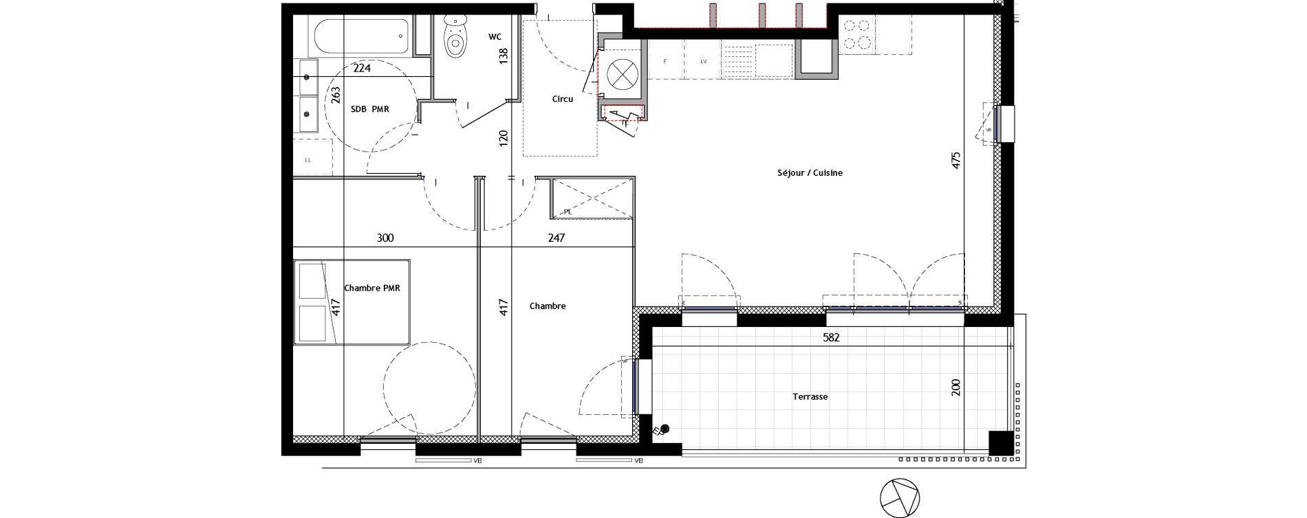 Appartement T3 de 62,21 m2 à Venelles Les michelons