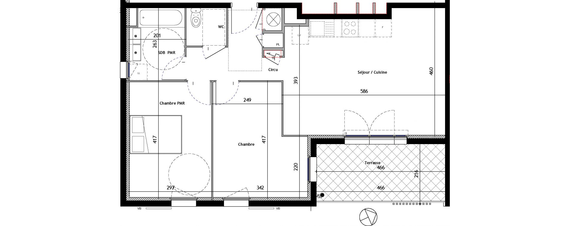 Appartement T3 de 63,45 m2 à Venelles Les michelons