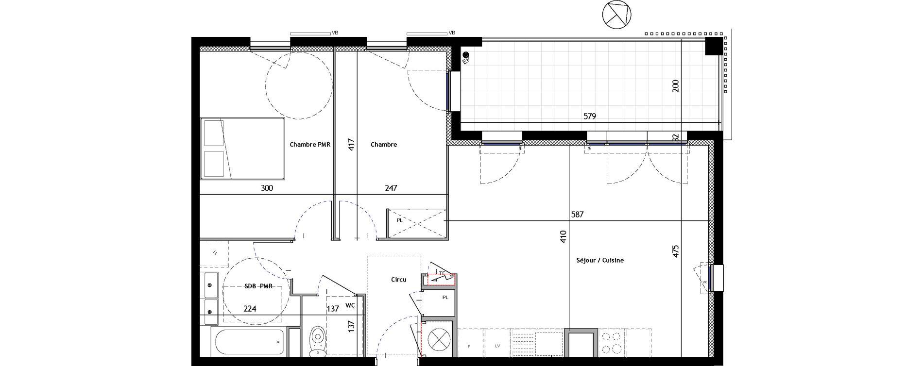 Appartement T3 de 63,63 m2 à Venelles Les michelons