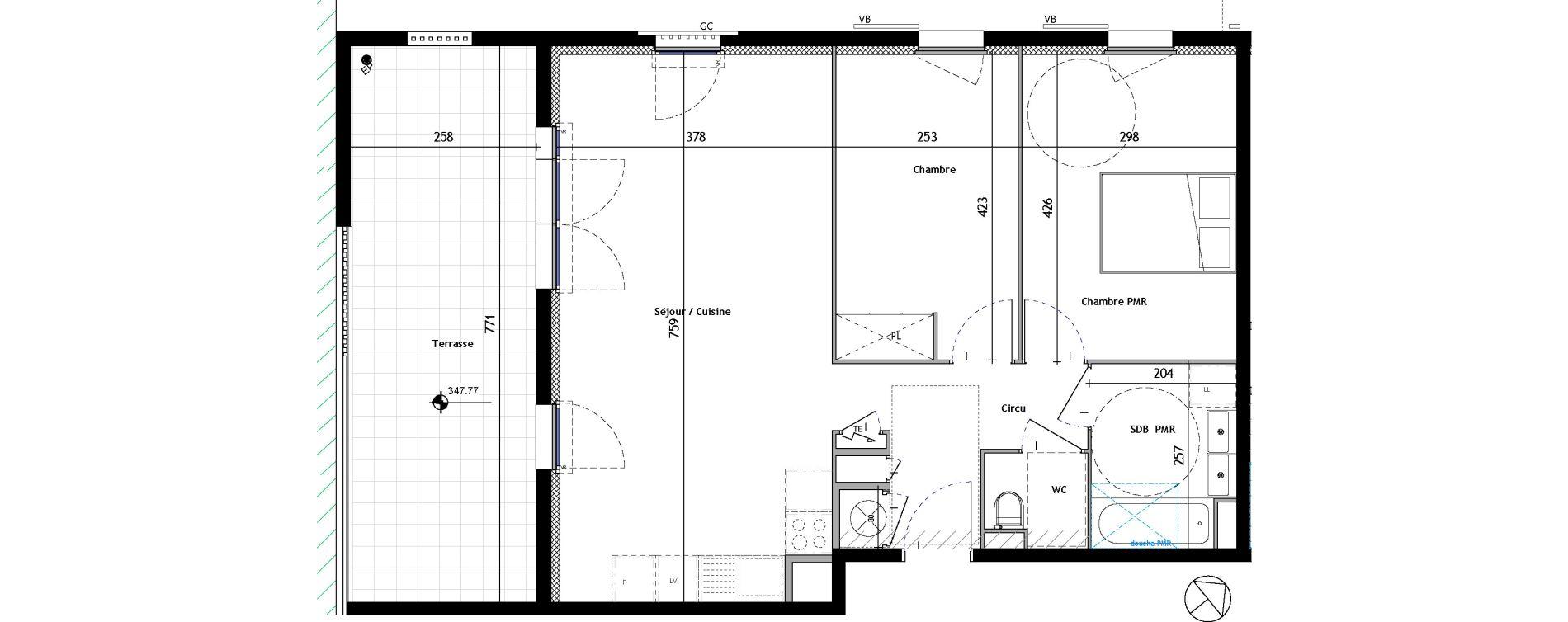 Appartement T3 de 65,23 m2 à Venelles Les michelons