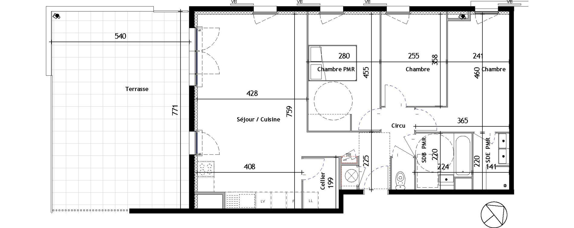 Appartement T4 de 83,57 m2 à Venelles Les michelons