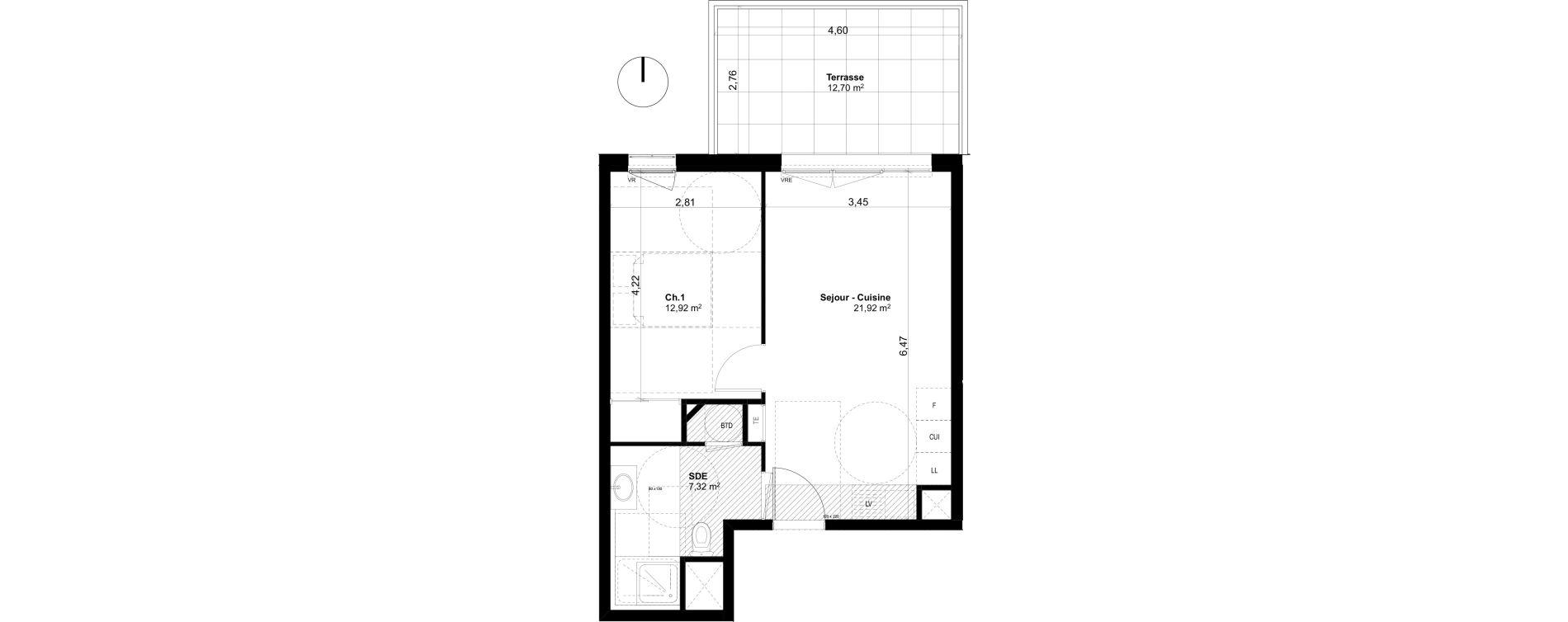 Appartement T2 de 42,16 m2 à Ventabren L heritiere