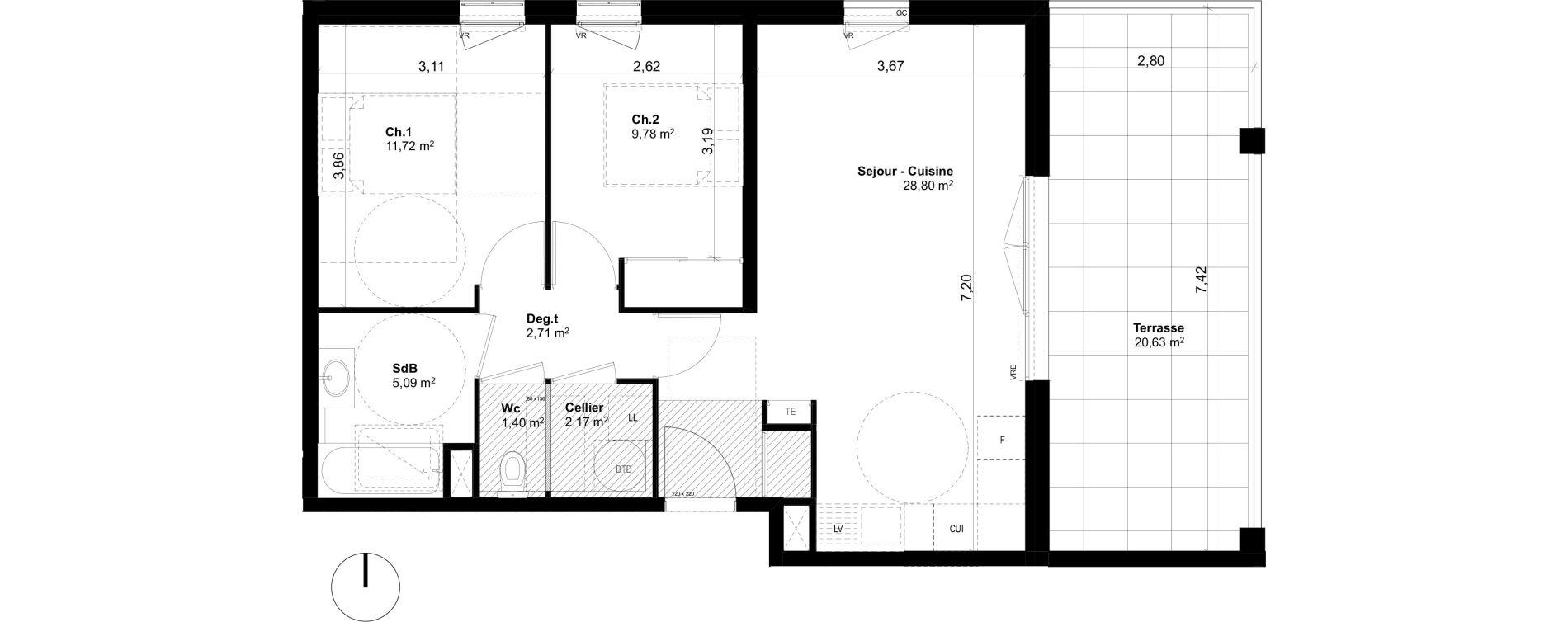 Appartement T3 de 61,67 m2 à Ventabren L heritiere