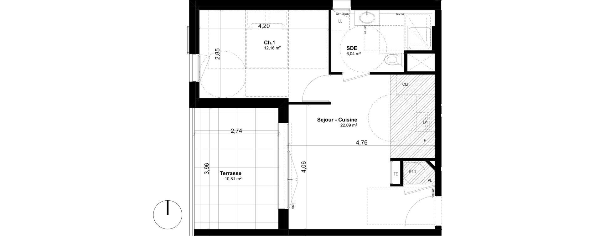 Appartement T2 de 40,29 m2 à Ventabren L heritiere