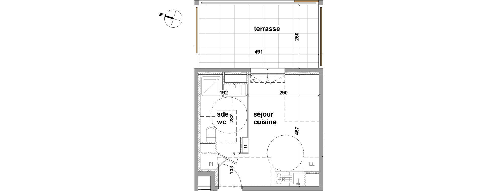 Appartement T1 de 20,50 m2 à Brignoles Centre