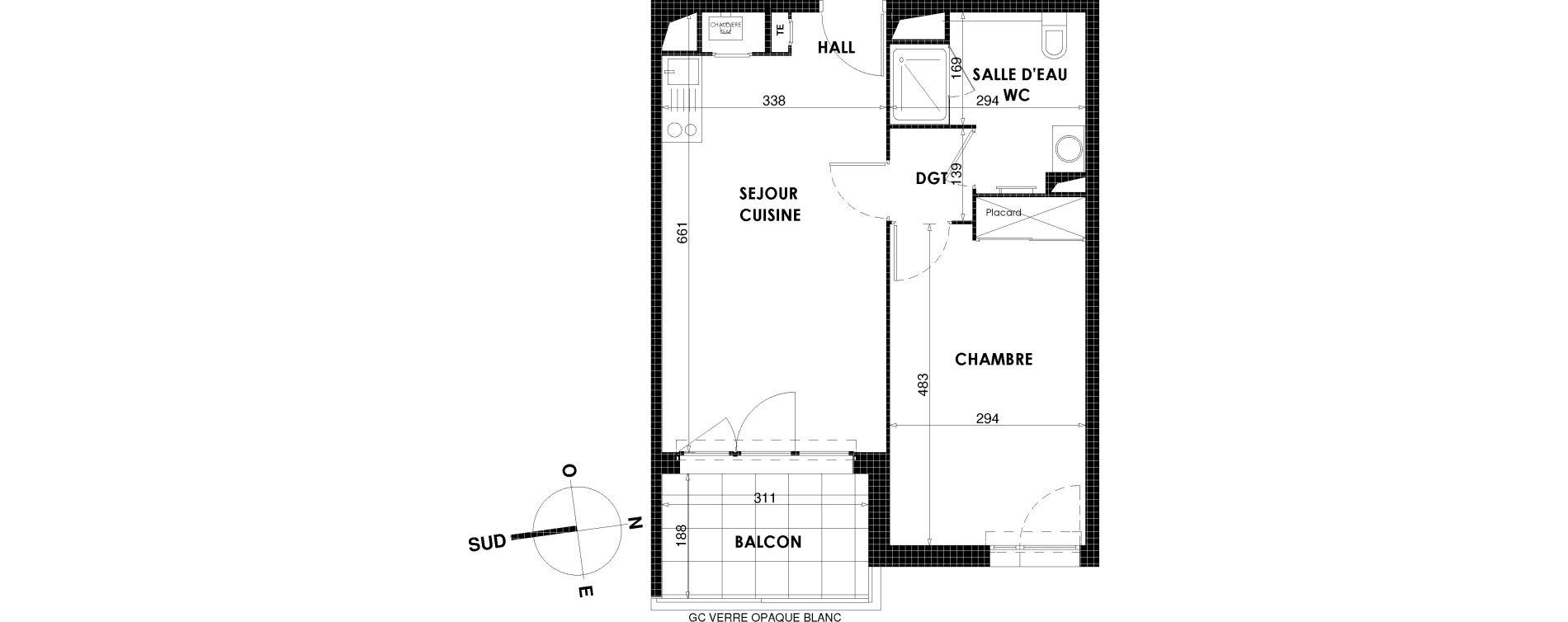 Appartement T2 de 44,31 m2 à Draguignan Centre