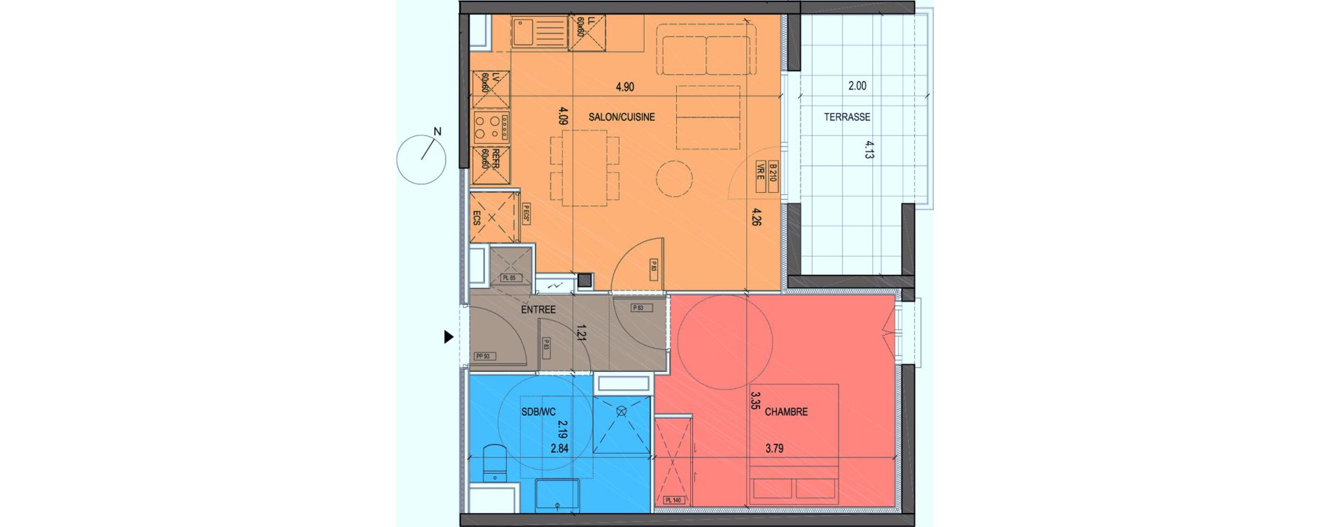 Plan T2 neuf à Grimaud de