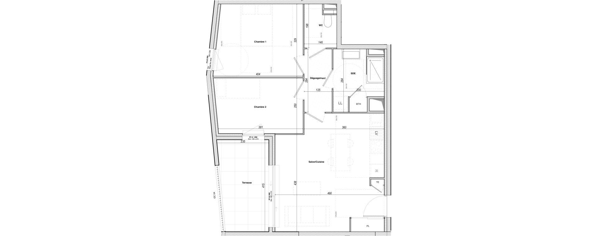 Appartement T3 de 59,05 m2 à Hyères Le versant des roches