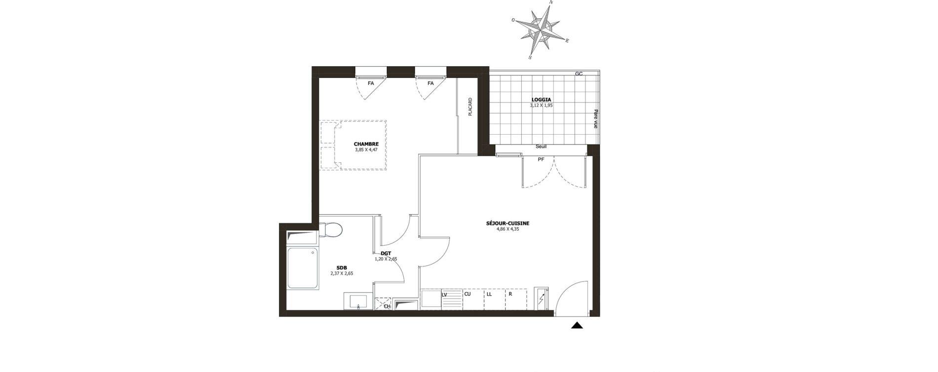 Appartement T2 de 43,82 m2 à La Londe-Les-Maures Centre