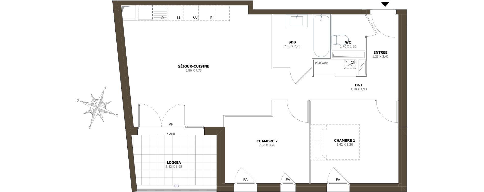 Appartement T3 de 60,51 m2 à La Londe-Les-Maures Centre