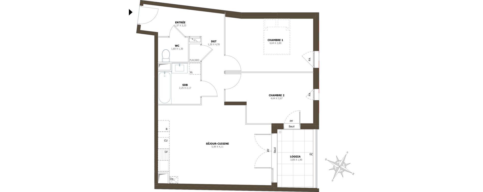 Appartement T3 de 64,56 m2 à La Londe-Les-Maures Centre
