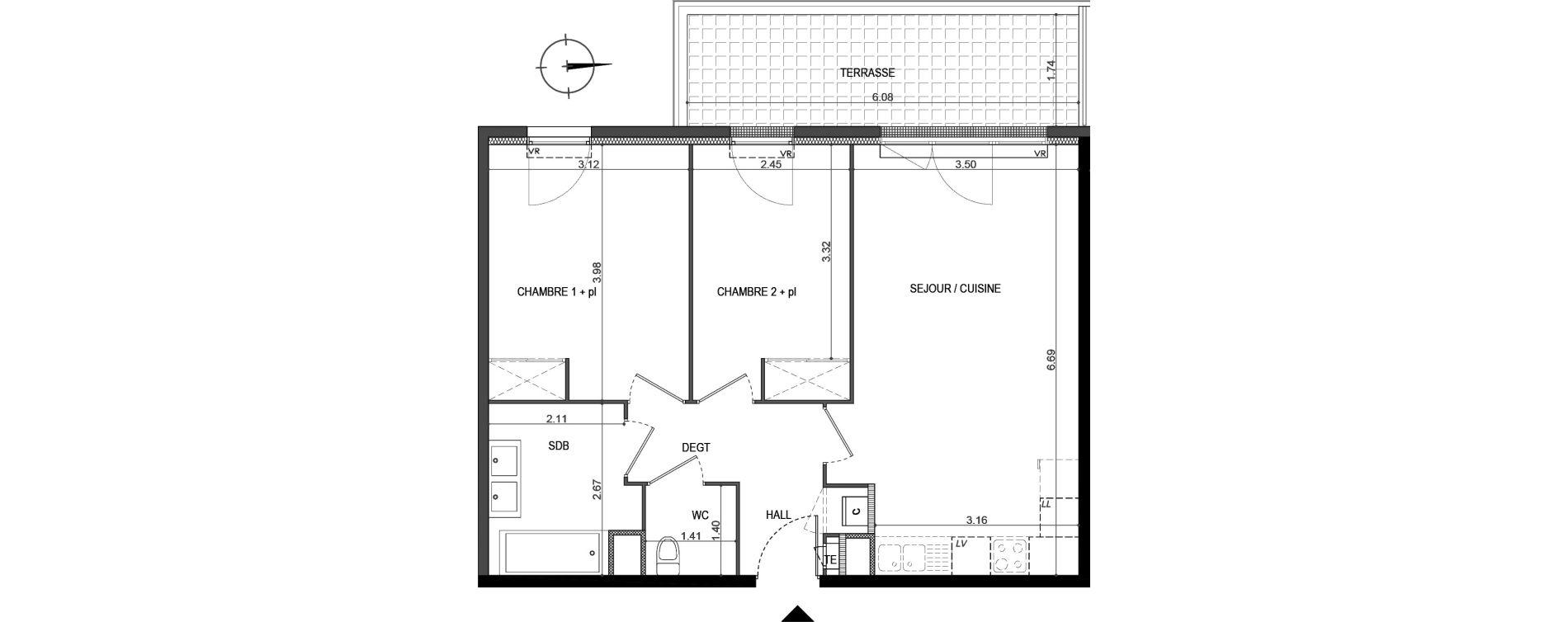 Appartement T3 de 59,08 m2 à La Seyne-Sur-Mer Porte marine