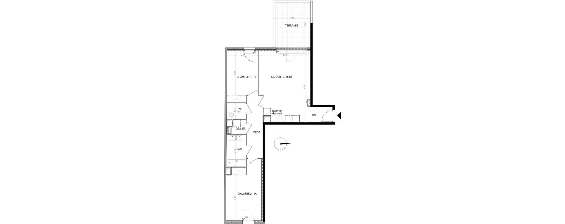 Appartement T3 de 67,07 m2 à La Seyne-Sur-Mer Porte marine