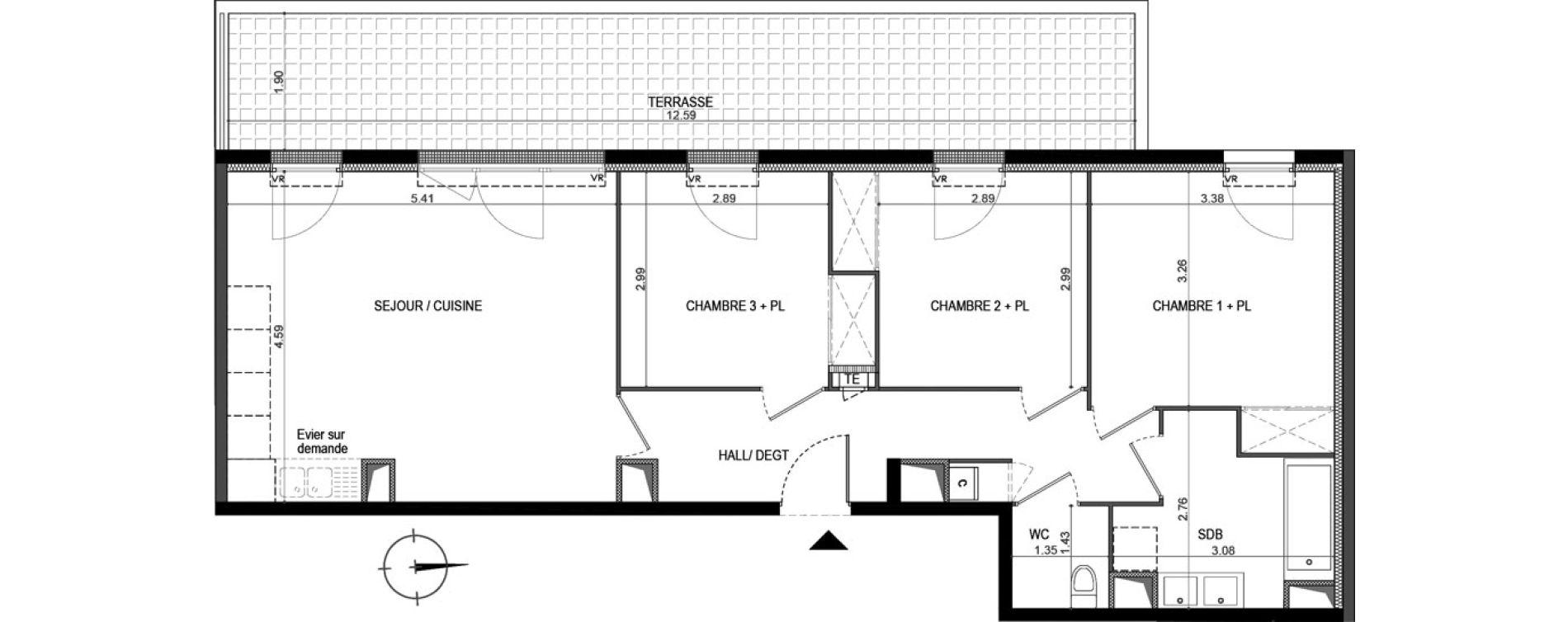 Appartement T4 de 73,67 m2 à La Seyne-Sur-Mer Porte marine