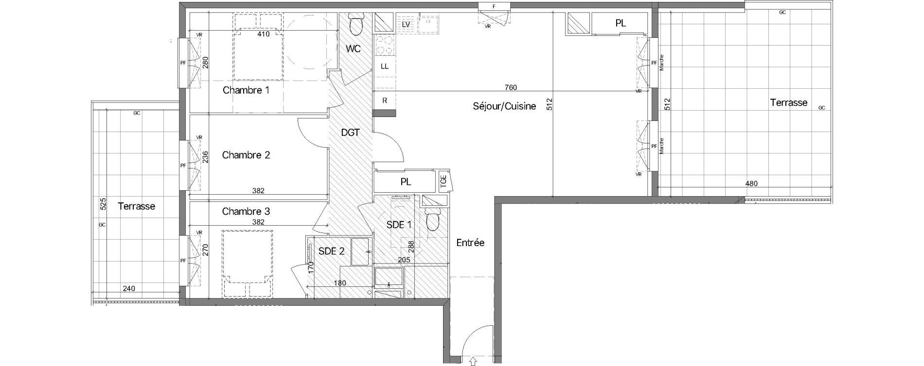 Appartement T4 de 87,85 m2 au Lavandou Le village