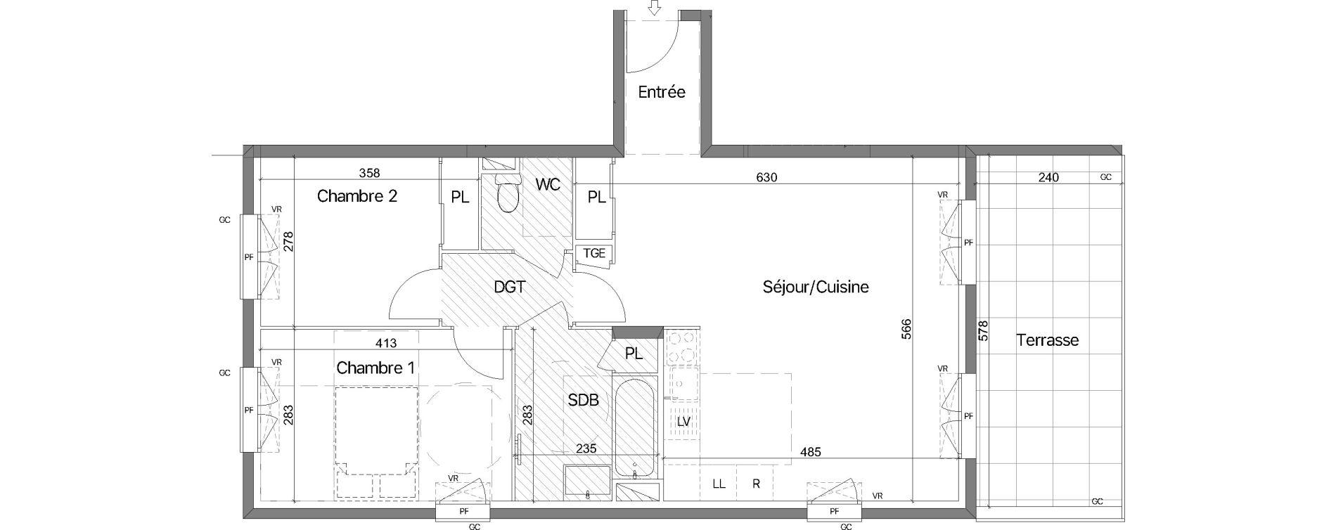 Appartement T3 de 65,88 m2 au Lavandou Le village